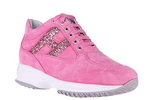 Hogan scarpe sneakers donna camoscio nuove interactive h spezzata glitter rosa