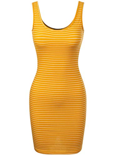 BEYONDFAB Women's Stripe Sleeveless Scoop Neck Knit Tank Bodycon Dress Mustard S