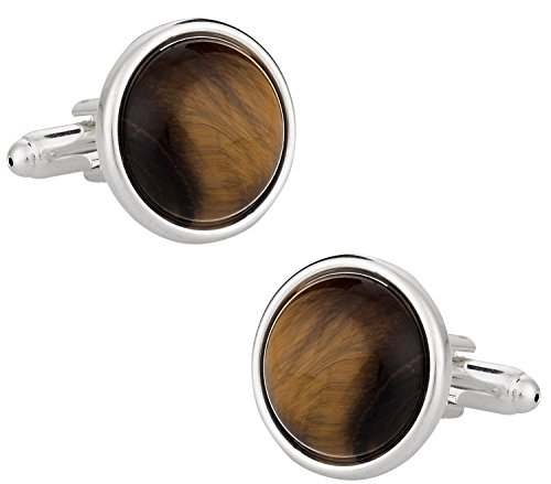 Cuff-Daddy Domed Tiger Eye Cufflinks with Sterling Silver Plate with Presentation Box