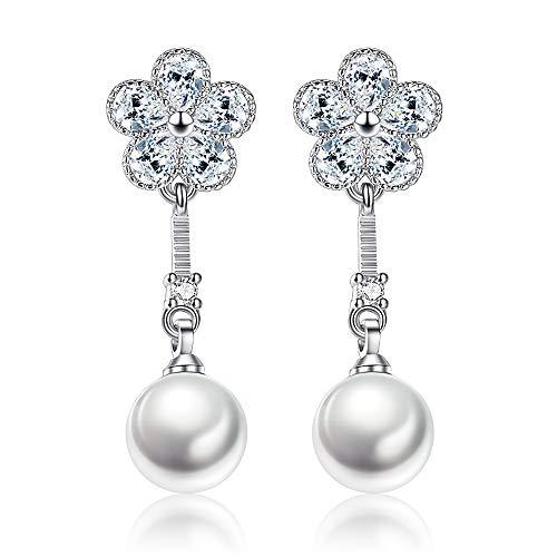 925 Sterling Silver Hoop Handpicked AAA+ Quality 7.5-8mm White Freshwater Cultured Pearl Dangle Drop Earrings Jewelry for Women Girls Crystal Cultured Pearl Earrings