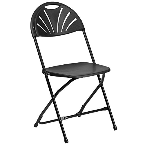 Flash Furniture HERCULES Series 800 lb. Capacity Black Plastic Fan Back Folding Chair