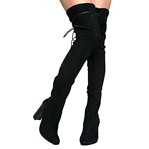 e3dc2b8bb6a9f J. Adams Gorgeous Lace up Over The Knee Boot - Vegan Suede Thigh ...