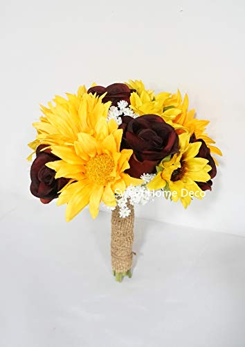 Sweet Home Deco Silk Sunflower Burgundy Rose Baby's Breath Mixed Wedding Bridal Bridesmaid Bouquet Boutonniere Corsage Package for Autumn (Yellow/Burgundy-6''W Bouquet)