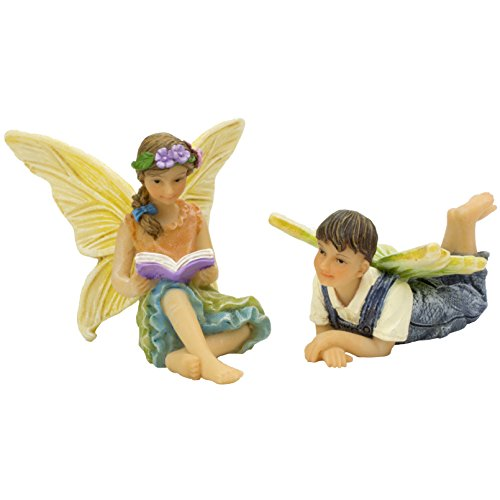 Miniature Figurine (The Miniature Fun To Read Brother & Sister Garden Fairy Set by Twig & Flower)