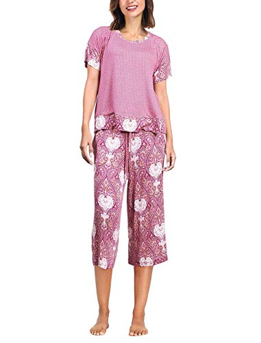 Summer Pajamas for Women - Stylish Print Ladies Pajama Set, Oversized Shirt Capri Lounge Pants, Bohemian Night Raspberry M