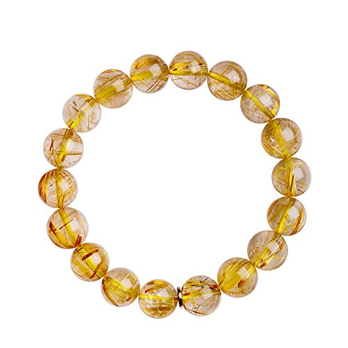 iSTONE Natural Brazil Yellow Rutilated Quartz Crystal Stretch Round Bead Bracelet (Yellow Rutilated Quartz, 8mm) ()