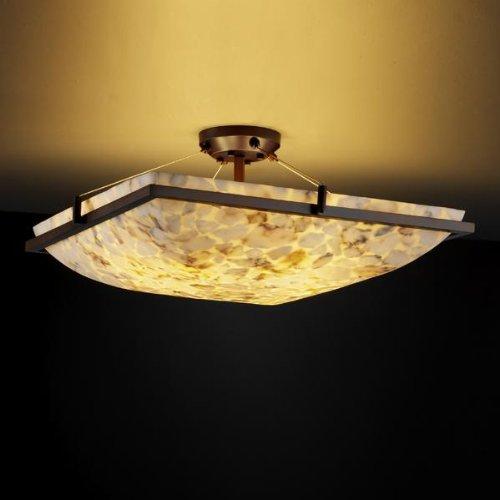 Justice Design Group ALR-9782 - Ring 24'' Semi-Flush - Square Bowl Shade - Dark Bronze (Bowl Shade 24')