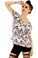 Folter Women's Grey Skull Dolman Tunic Top