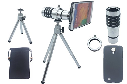 ASone 12x Magnifier Zoom Aluminum Manual Focus Telephoto Telesocpe Phone Camera Lens Kit with Tripod for Samsung Galaxy Note3