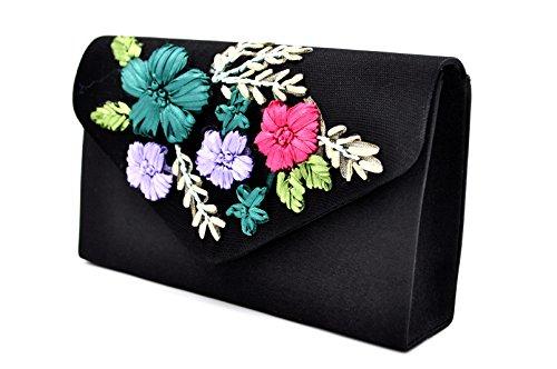 Handbag Women Party Frosted Purse Nodykka Floral Envelope Rhinestone Evening Clutch Bridal wAfnfXqB