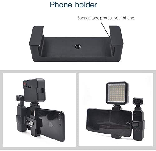 OSMO Pocket Accessories Hyx Phone Clamp Mount Fixed Stand Bracket with LED Light for DJI OSMO Pocket Color : Black