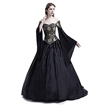 D-RoseBlooming Black Vintage Renaissance Wedding Dress Gothic Victorian Ball Gowns