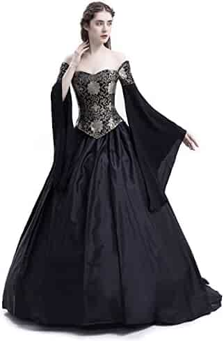 5aabae6b18 D-RoseBlooming Black Vintage Renaissance Wedding Dress Gothic Victorian  Ball Gowns