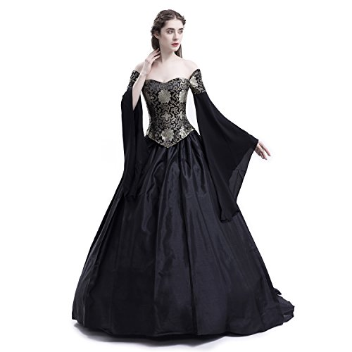 D-RoseBlooming Black Vintage Renaissance Wedding Dress Gothic Victorian Ball Gowns (Small)