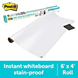 Post-it Dry Erase Whiteboard Film Surface for Walls, Doors, Tables, Chalkboards, Whiteboards, and More, Removable, Super Sticky, Stain-Proof, Easy Installation, 6 ft x 4 ft Roll (DEF6X4A)
