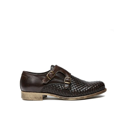 British Passport Scarpa con Doppia Fibbia con Decorazione Plain di Colore Testa di Moro. Plain Monk Strap Dark Brown. Uomo.