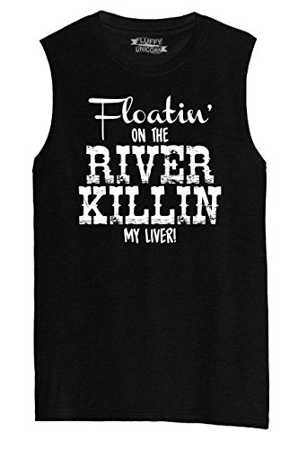 Comical Shirt Mens Muscle Tank Floating On The River Killing My Liver Black L (Floating Down The River Killing My Liver)