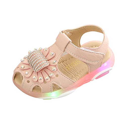 Tantisy ♣↭♣ Girls LED Crystal Sandals/Luminous Sport Sandals/Fashion Flower Single Shoes (Toddler/Little Kid/Big Kid) Pink