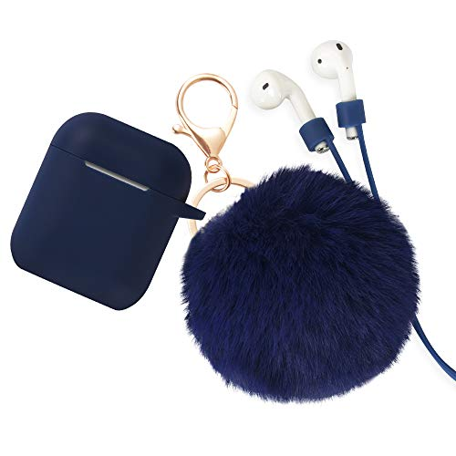 Airpods Case - BlUEWIND Drop Proof Air Pods Protective Pom Pom Keychain Case Cover Silicone Skin for Apple Airpods 2 & 1 Charging Case, Cute Fur Ball Airpods Keychain/Strap (Blue)