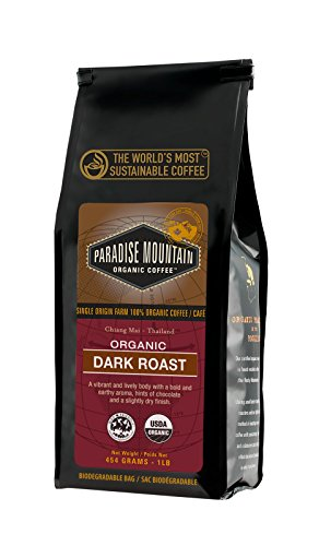 Paradise Mountain, Rare Thailand Dark Roast, USDA Certified Organic, Direct Trade, Whole Bean Coffee 16oz
