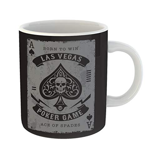 Emvency 11 Ounces Coffee Mug Vegas Ace of Spades Poker Tee Graphics Skull Gamble Playing Dice Casino City White Ceramic Glossy Tea Cup With Large C-handle