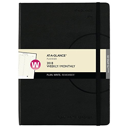 """AT-A-GLANCE Weekly / Monthly Appointment Book / Planner, Plan.Write.Remember., January 2018 - December 2018, 7-3/8"""" x 9-3/4"""", Black (70695005)"""