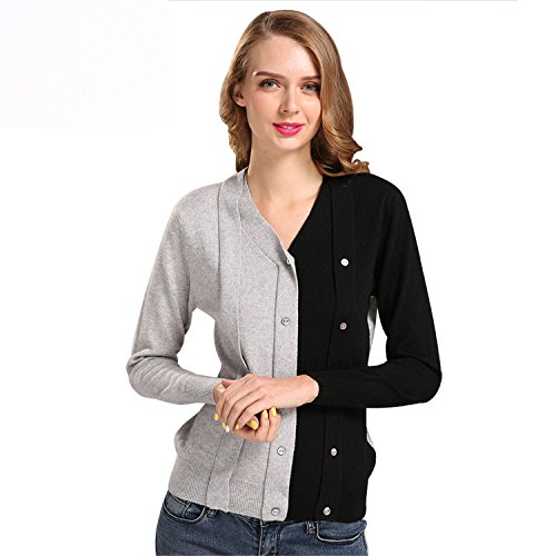 - Eault Elegant Women Autumn V-Neck Cashmere Blend Cardigan Sweater Female Patchwork Design Knitted Single Breasted Knitwear Sweaters black and greyL Novelty