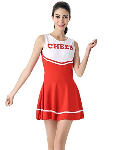 Colorful House Women's Musical Cheerleader Costume Uniform Fancy Dress (One Size, Red)
