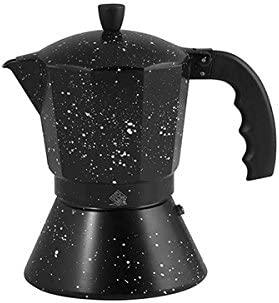 HOME Cafetera para 3 Tazas, con Fondo de inducción, diseño Stone, Aluminio, Negro, 10 x 15 x 16 cm
