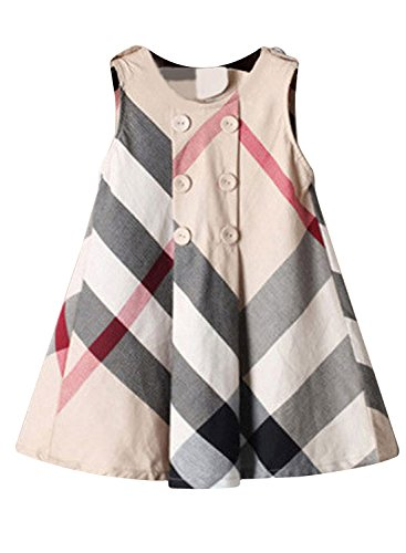 Yinggeli Little Baby Girls Long Sleeve Plaid Checked Princess Dress (6-7 Years, A-Beige) Checked Baby Dress