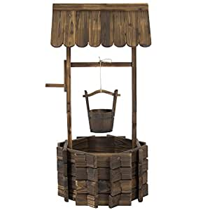 New Bucket Flower Planter Patio Garden Outdoor Home Decor Wooden Wishing Well