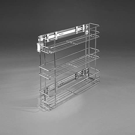 Cestello a filo estraibile con montaggio laterale, sistema di apertura Soft  Close, scaffale per cucina, dispensa, armadietto, 3-levels Chrome, ...