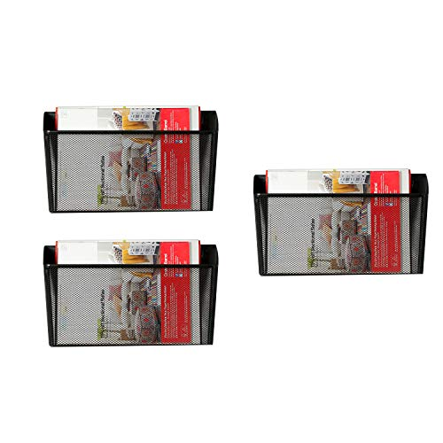 (DESIGNA Mesh Wall Mounted File Holder Letter Pocket Organizer Black, 3 Packs)