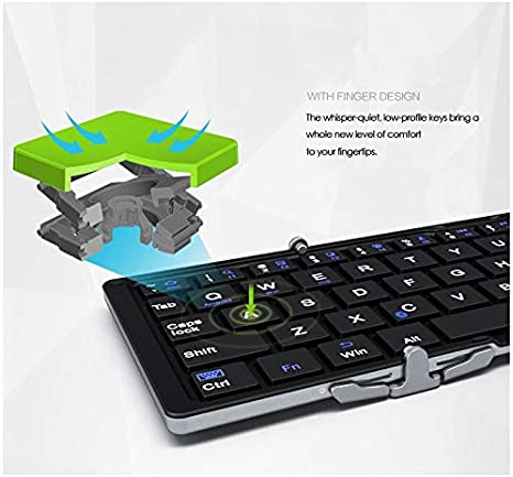Folding Android Windows Aluminium case for iOS PC,Tablets and Smartphone HLOIPYUR Mini Bluetooth Keyboard Foldable