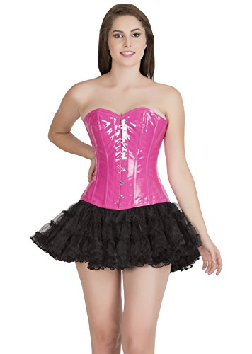 ライド富豪脆いSexy Pink Faux Leather Gothic Costume Waist Training Bustier Overbust Corset Top