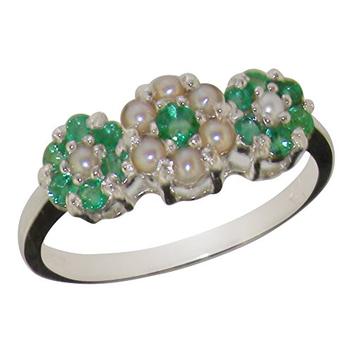 925 Sterling Silver Real Genuine Emerald & Cultured Pearl Womens Cluster Promise Ring - Size 9