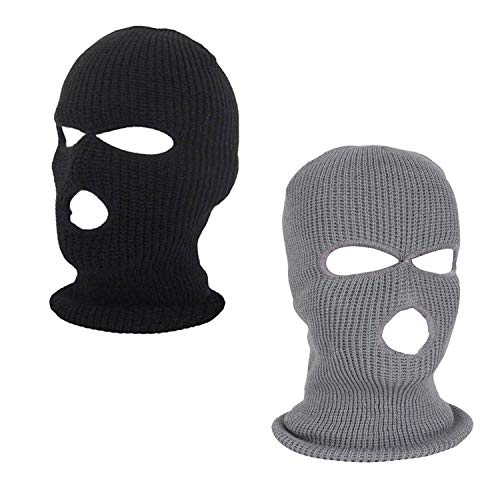 (Sun-Trade 2pcs 3-Hole Ski Face Mask Balaclava,Full Face Mask for Winter Outdoor Sports, Black)