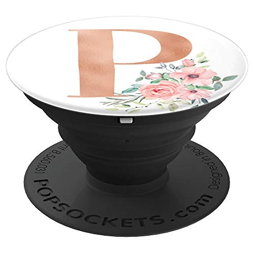 Rose Blush Floral Monogram Letter P Pretty Pink Flowers - PopSockets Grip and Stand for Phones and Tablets