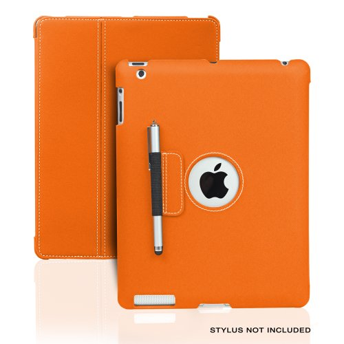 Photive Ultra Slim Folio Case Designed for The New iPad 3rd & 4th Generation with Built in Stand and Stylus Holder. Smart Cover Case Supports Sleep/Wake Feature- Orange