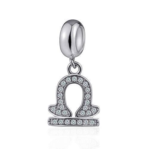(Libra Zodiac Sign Charms for Pandora Charm Bracelets - 925 Sterling Silver Necklace Pendants, 12 Constellation/Horoscope Star Dangle - Dangling Birthstone Beads, Birthday Gifts Women/Men/Girls/Boys.)