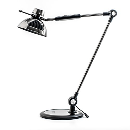 Architect Desk Lamp Gesture Control – Metal Swing Arm Dimmable Led Lamp – Task Light for Office – 12 Touch Level Dimmer 3 Eye-Care Lighting Modes – Adjustable Drafting Table Lamp – Memory – Black