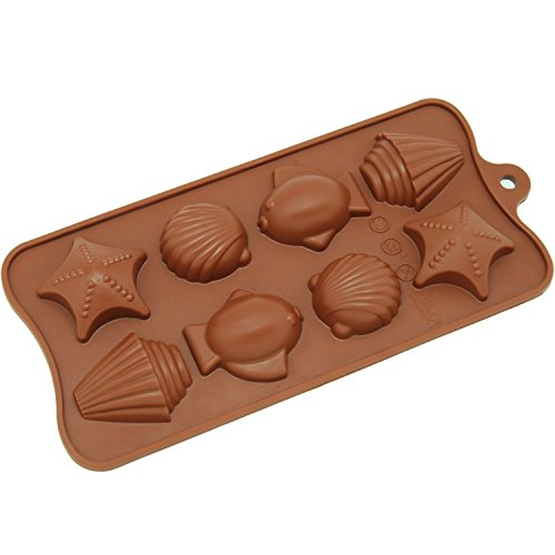 Freshware CB-603BR 8-Cavity Silicone Seashell, Fish and Seastar Chocolate, Candy and Gummy Mold