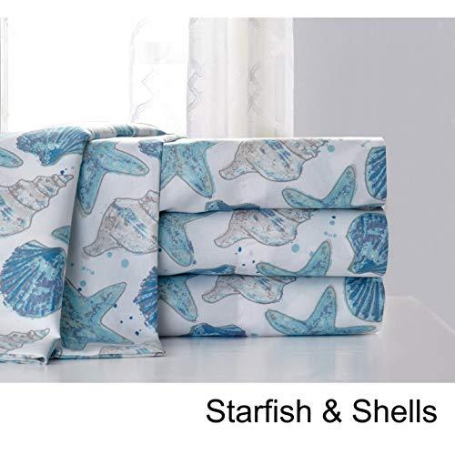 Hedaya Home Fashions Starfish and Shells Coastal Watercolor Sheet and Pillowcase Set King - Hedaya Home Fashions