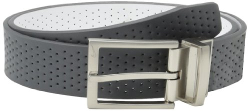 Nike Men's Perforated Reversible, Dark Grey/White, (White Reversible Belt)