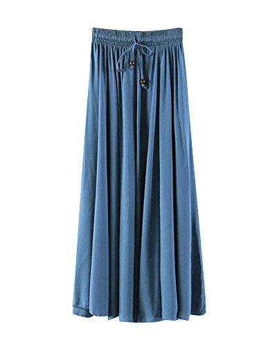 7 Pure Couleur Jupes Jupe Grande lgant Lin Ample t Haute Taille Longue Robe Taille Style Couleur Respirant Classique Plisse Femme UwtqHt