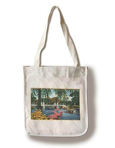 Boston, Massachusetts - View of Swan Boats in the Public Gardens Lake (100% Cotton Tote Bag - Reusable, Gussets, Made in (Boston Swan Boats)