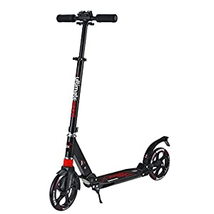 Foldable GoScoot Ultimate, 2 Wheel Kick Scooter for Kids by New Bounce|Portable Outdoor Toy with Adjustable Height for Children and teens|Deluxe Design for Girls & Boys in Pink, Blue and Black (Black)