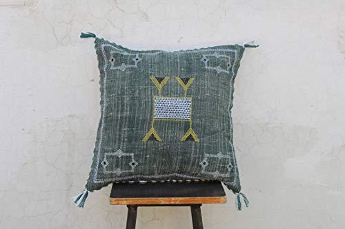 Archana Arts and Crafts Cactus Silk Inspired Handmade Linen Pillow Cushion Moroccan Silk Pillow Cove Cushion Couch Pillow Sofa Pillow Cover 20X20 Pillow