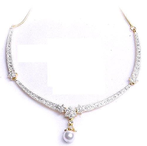 7d6712533fdb Buy Viva Pearl Austrian Crystal Diamonds With 925 Sterling Silver Plated Chain  Necklace Set With Earring For Women Online at Low Prices in India
