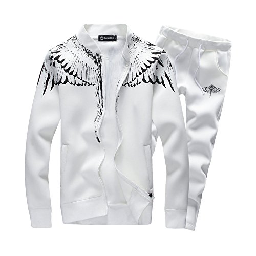ASALI Mens Tracksuit Feather Wings Fashion Warm Up Jogger Suit with Jacket+Pants Sets White L